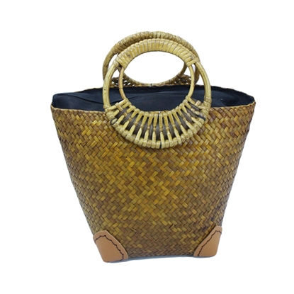 Picture of  Mustard woven Lepironia wicker bucket handbag