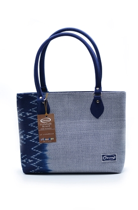 Picture of  Indigo thai pattern square shoulder bag