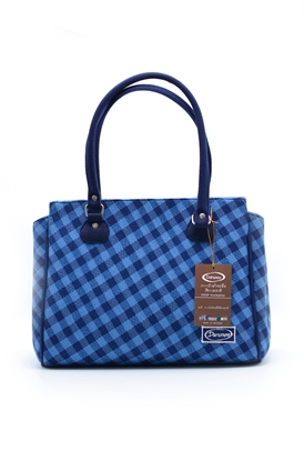 Picture of  Blue grid with thai pattern square handbag