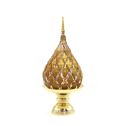 Picture of Lotus brass tray with pedestal candle hoder (Jok pattern) size 4 inch