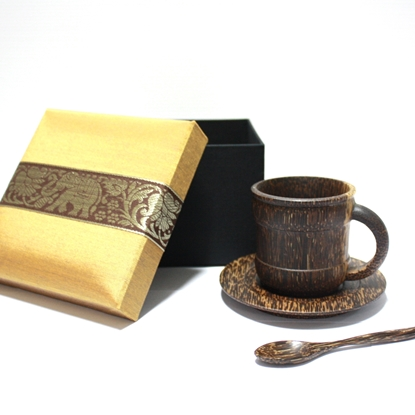 Picture of Palm wood (Tarn) - Palm wood coffee set (3 pcs.) with box