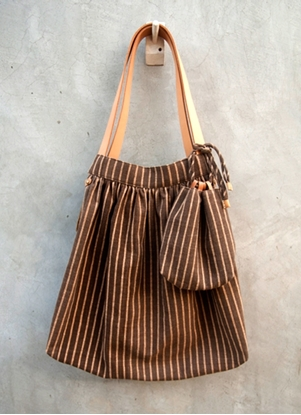 Picture of Ars D Sine - Pleated cotton shoulder bag