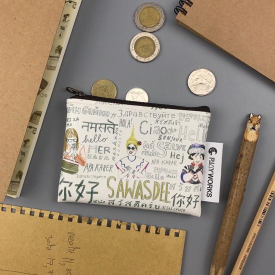 Picture of กระเป๋าหนังใส่เหรียญลายสวัสดีไทยแลนด์