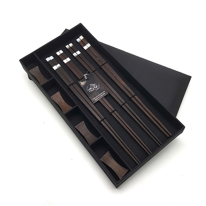Picture of Rosewood Chopsticks Set in Silk box (4 pair)