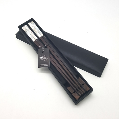 Picture of Rosewood Chopsticks With Pearl Set in Silk box (2 pair)