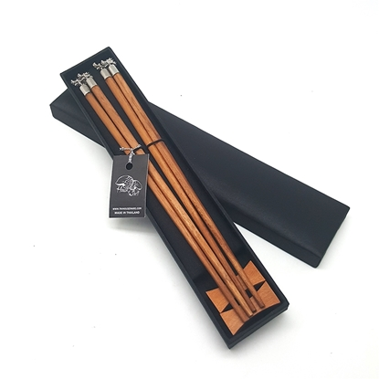 Picture of Palm Wood Chopsticks Dragon Set in Silk box (2 pair)