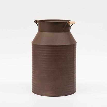 Picture of ถังนมสังกะสี หูจับไม้ สีสนิมทองแดง (ไซส์ใหญ่)