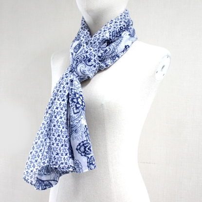 Picture of Navy multi flower cotton scarf