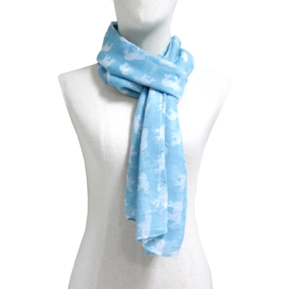 Picture of Light blue elephant cotton scarf