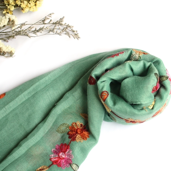 Picture of Mint blooming embroidery cotton scarf