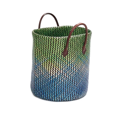 Picture of Green & Blue Krajood woven basket