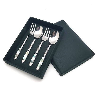 Picture of Coffee Spoon & Fork Mix Seashell Set In Silk box (4 pcs.)