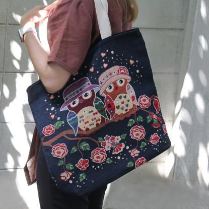 Picture of Indigo Couple Owls Cotton bag