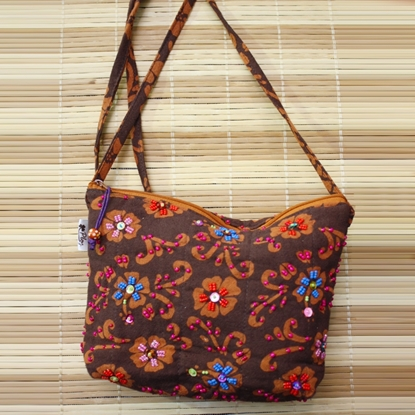 Picture of Chocolate brown square crossbody bag