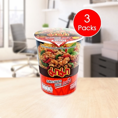 Picture of Mama Cup Instant Noodles Spicy Basil Stir-Fried Flavour (Pack 3)