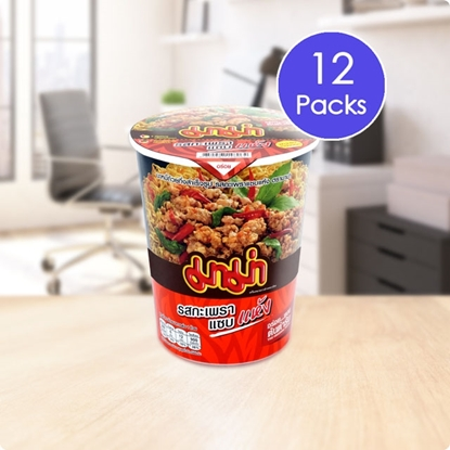 Picture of Mama Cup Instant Noodles Spicy Basil Stir-Fried Flavour (Pack 12)
