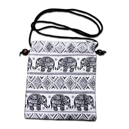 Picture of กระเป๋าสตางค์คล้องคอ ลายช้างชนเผ่าสีดำ