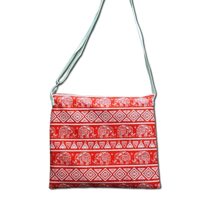 Picture of Vivid Red tribal elephant Crossbody bag