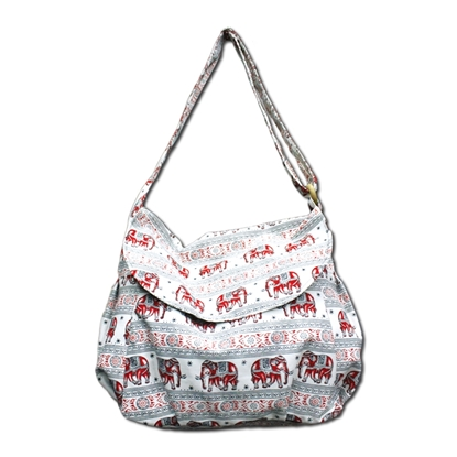 Picture of White & Red tribal elephant Crossbody bag