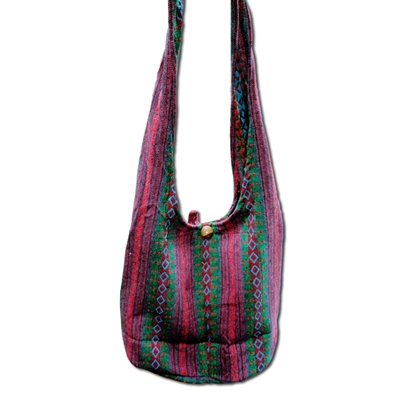 Picture of Tribal Hmong cotton shoulder bag - Red