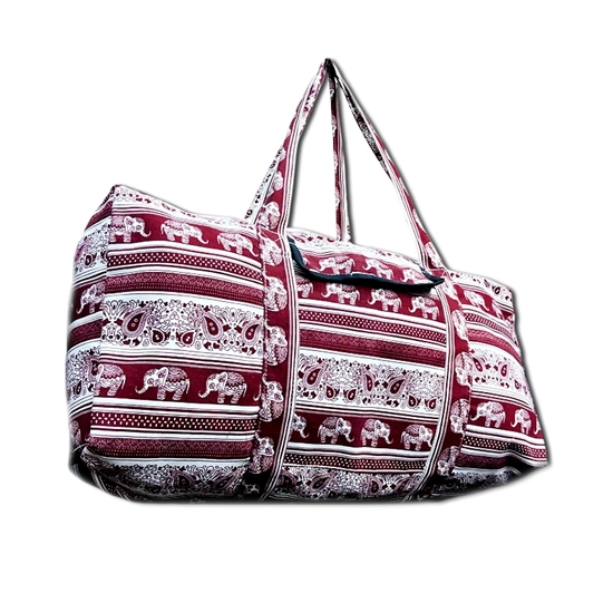 Picture of Burgundy Red tribal elephant Travel bag
