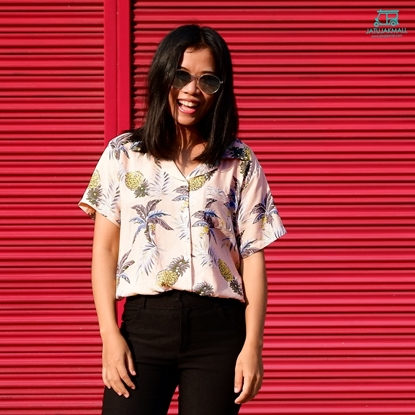 Picture of Pineapple Hawai Shirt - Baby Pink free size for women