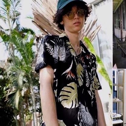Picture of เสื้อฮาวาย ลายลายใบบัวสีดำ - ฟรีไชส์ผู้ชาย