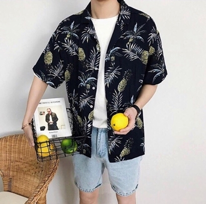Picture of Pineapple Hawai Shirt - Black free size for men