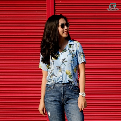 Picture of Pineapple Hawai Shirt - Light Blue free size for women
