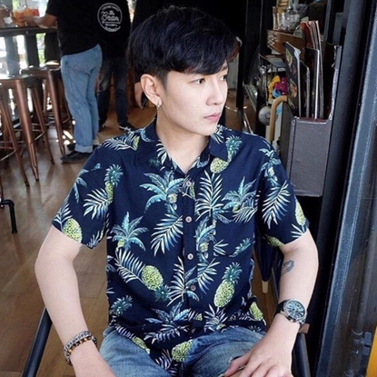 Picture of Pineapple Hawai Shirt - Navy free size for men