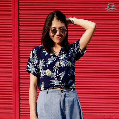 Picture of Pineapple Hawai Shirt - Navy free size for women