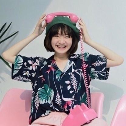Picture of เสื้อฮาวาย ลายใบบัวสีกรม - ฟรีไชส์ผู้หญืง