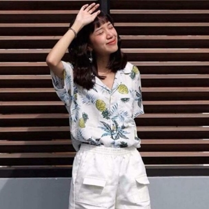 Picture of Pineapple Hawai Shirt - White free size for women