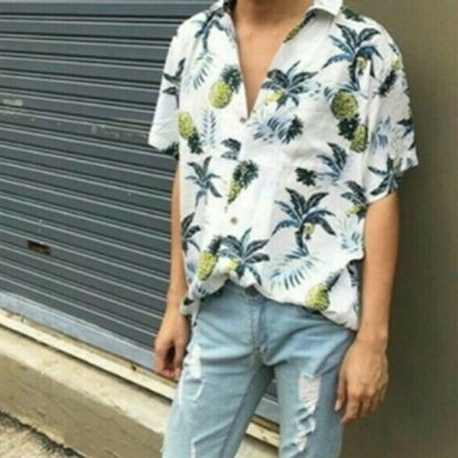 Picture of Pineapple Hawai Shirt - White free size for men