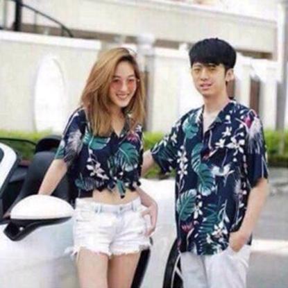 Picture of เสื้อฮาวาย ลายใบบัวสีกรม - ฟรีไชส์ผู้ชาย