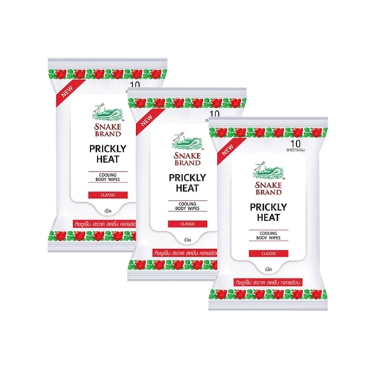 Picture of Snake Brand Prickly Heat Classic Cooling Body Wipes (3 pcs)