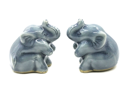 Picture of Blue elephant couple celadon