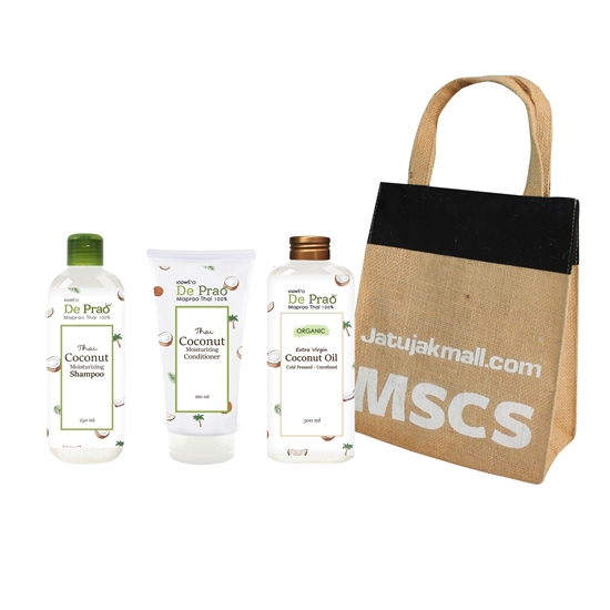 Picture of Coconut Shampoo, Conditioner and cold pressed set with bag