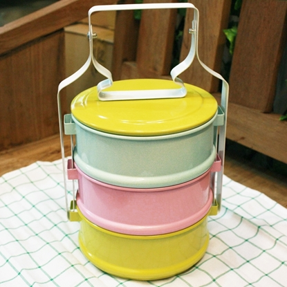 Picture of Thai Enamelware - Orange Tone Lunch Box 3 Tier