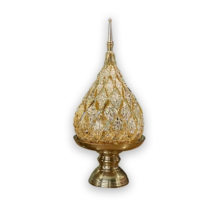 Picture of Lotus brass tray with pedestal candle hoder (Jok pattern) size 4 inch (Pure gold plated)