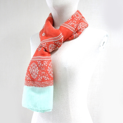 Picture of Tangerine floral cotton scarf