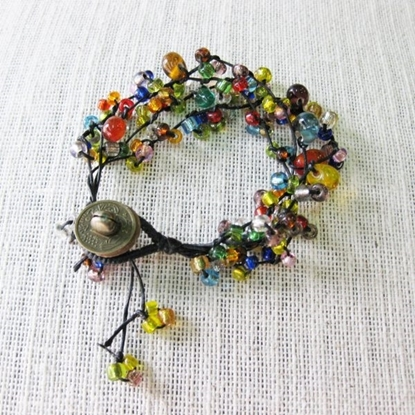 Picture of Colorful Glass beads, Wax String Bracelet Handmade Jewelry, Brass Coins