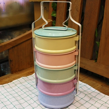 Picture of Thai Enamelware - Pastel Lunch Box 5 Tier