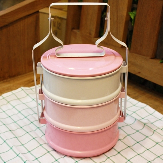 Picture of Thai Enamelware - Pink Tone Lunch Box 3 Tier