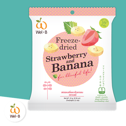 Picture of Wel-B Freeze-dried strawberry and banana 22 g. 1 PC