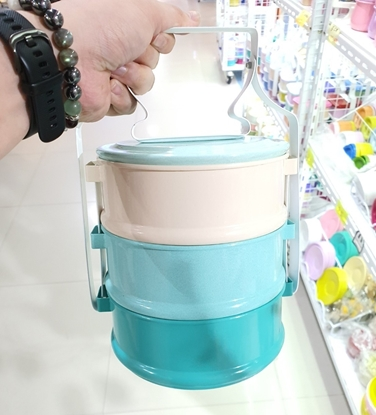 Picture of Thai Enamelware - Blue Tone Lunch Box 3 Tier