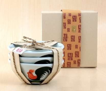 Picture of Thai chicken pattern bowl 6 inch set (3Pcs.)