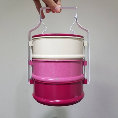 Picture of ปิ่นโต 3 ชั้น 14 cm - สีชมพูบานเย็น