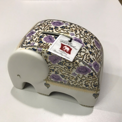 Picture of Gold purple floral square elephant Ceramic coin bank