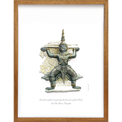 Picture of Guardian mythical supporting the base of golden Chedi.Wat Pra Keaw, Bangkok 3D Picture Frame